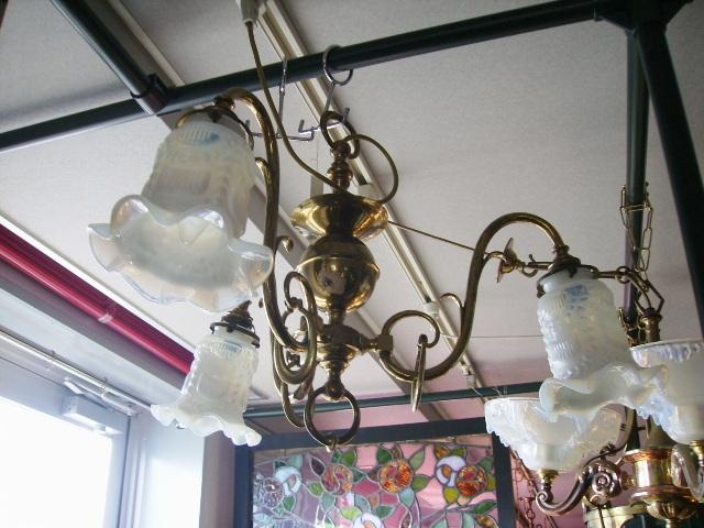 3灯 シャンデリア (4275シェード付き),アンティーク 照明,シャンデリア・ハンギングランプ