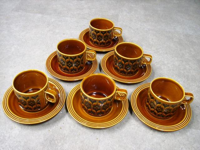 雑貨(キッチン) 雑貨陶器 ホーンジー (Hornsea) カップ&ソーサー 6客セット ダメージ有り