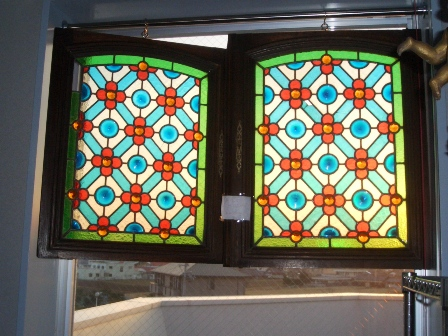 ステンドグラス ペア (2) 778.779,アンティーク 建材,ステンドグラス