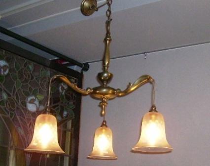 3灯 シャンデリア (シェード付き),アンティーク 照明,シャンデリア・ハンギングランプ