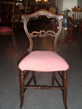 バルーンバック チェア  ピンク (キャスター無) 張替え済み,アンティーク 家具,チェア・ソファー
