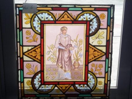 ステンドグラス (エナメル彩色の女性画付き) 6 アンティーク 建材 ステンドグラス
