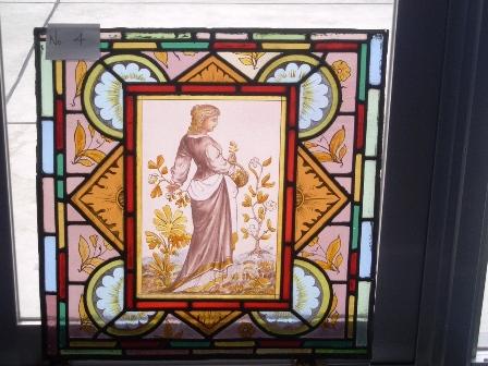 ステンドグラス (エナメル彩色の女性画付き) 4 アンティーク 建材 ステンドグラス