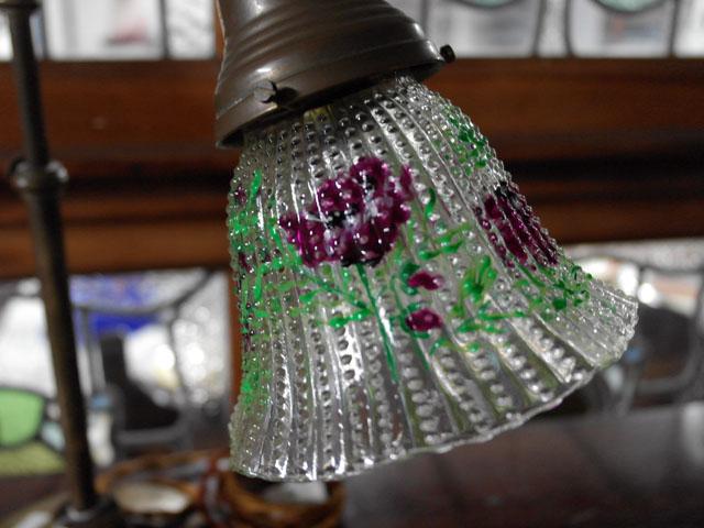 アンティーク 照明 シェード シェード クリア ハンドペイント 2個セット