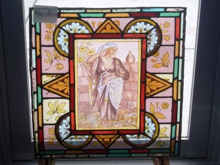 ステンドグラス (エナメル彩色の女性画付き) 5 アンティーク 建材 ステンドグラス