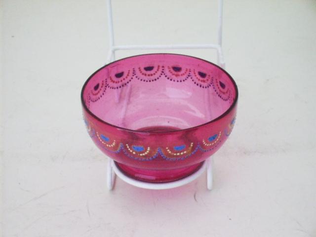 クランベリー ガラスボール&プレート エナメル彩,アンティーク ガラス,赤系 クランベリー・ルービーなど