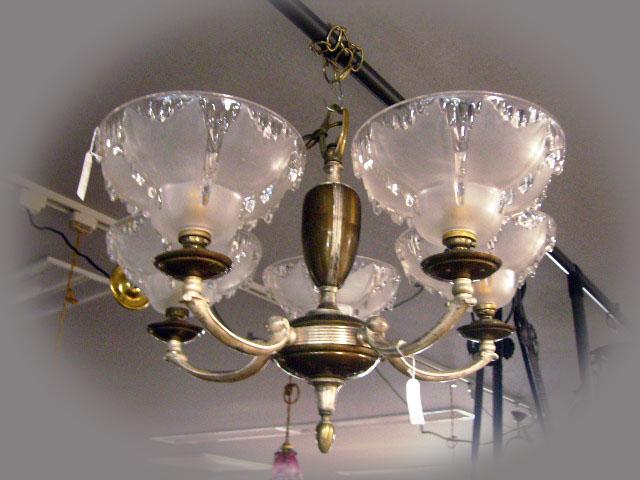 アンティーク 照明 シャンデリア・ハンギングランプ 5灯 シャンデリア (3600 シェード 5個付き)