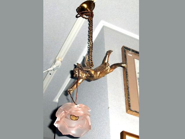 アンティーク 照明 シャンデリア・ハンギングランプ エンジェル 1灯 ランプ(バラシェード付き)