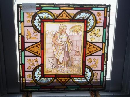 ステンドグラス (エナメル彩色の女性画付き) 3 アンティーク 建材 ステンドグラス