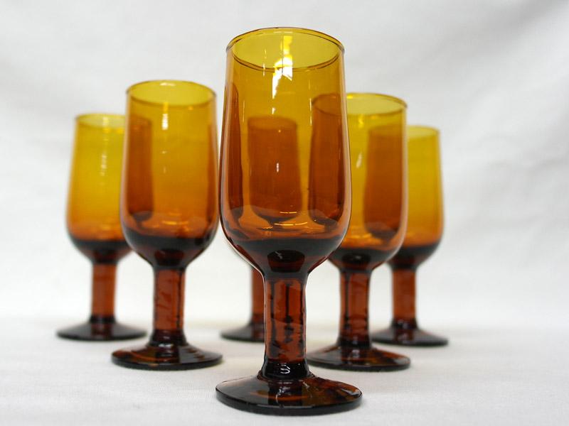 アンティーク ガラス その他 シェリー グラス アンバー 7脚セット