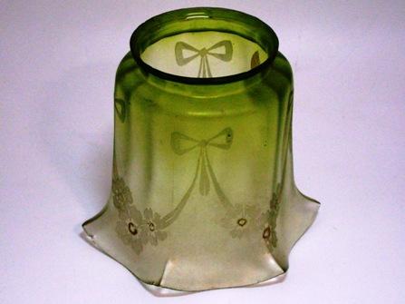 アンティーク 照明 シェード シェード グリーン エッチド ガラス