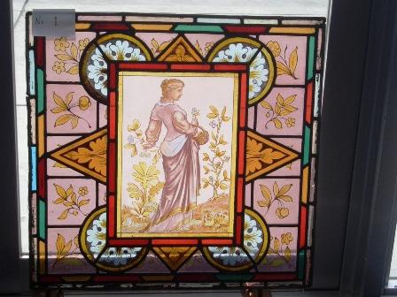 ステンドグラス (エナメル彩色の女性画付き) 1 アンティーク 建材 ステンドグラス