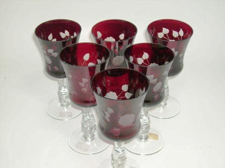 アンティーク ガラス 赤系 クランベリー・ルービーなど ボヘミアン ルービー カットガラス (6個セット)