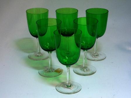 アンティーク ガラス グリーン・ブルー系 ワイングラス グリーン 6個セット
