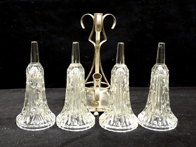 アンティーク ガラス クリアー系 バーズ(花器) カットガラス