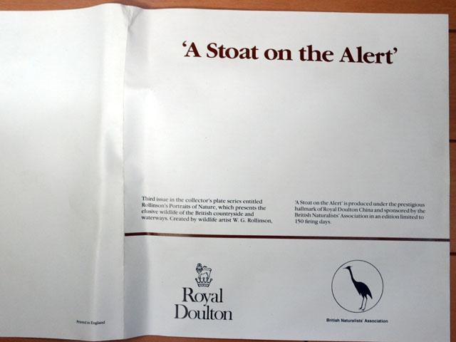 アンティーク 陶磁器 飾り用プレート ロイヤルドルトン(Royal Doulton)  ウォールプレート  A stoat on the Alert 箱付き シリアルナンバー入り