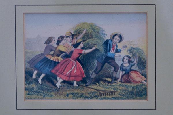 雑貨(ホビー) 絵・額入り品 絵 農場で遊ぶ子供(1)