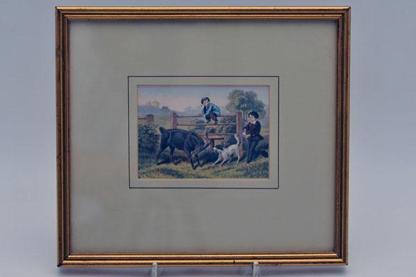 雑貨(ホビー) 絵・額入り品 絵 農場で遊ぶ子供(2)