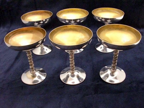 アンティーク その他 銀・銅製品ほか シルバー シャンパンゴブレット 6個セット