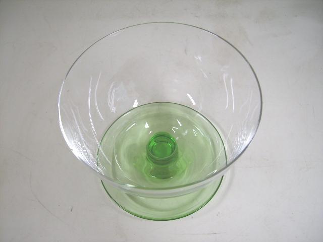 アイスクリーム グラス 5脚セット クリア&グリーン,アンティーク ガラス,グリーン・ブルー系