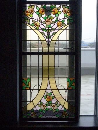 ステンドガラス バラ単品(767と揃い) アンティーク 建材 ステンドグラス