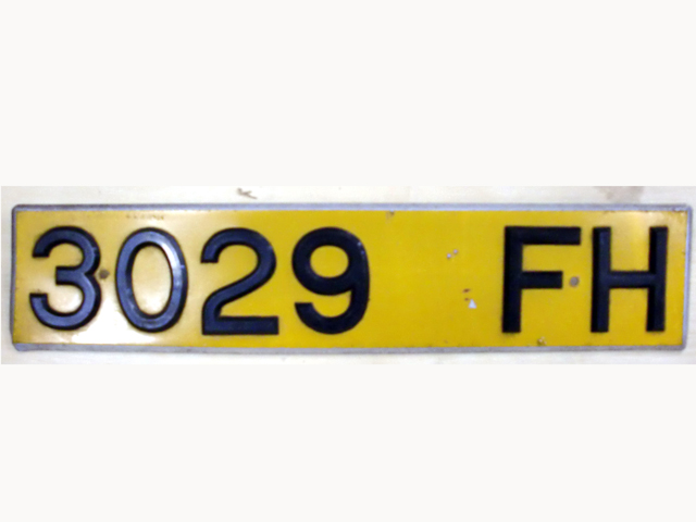 英国 ナンバープレート  3029FH オートモビリア その他 カー・バッジ/プレート