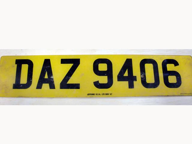 英国 ナンバープレート  DAZ9406 オートモビリア その他 カー・バッジ/プレート