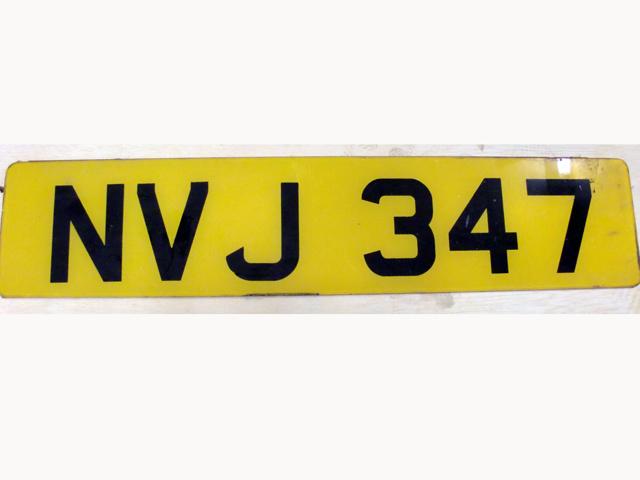 英国 ナンバープレート  NVJ347 オートモビリア その他 カー・バッジ/プレート
