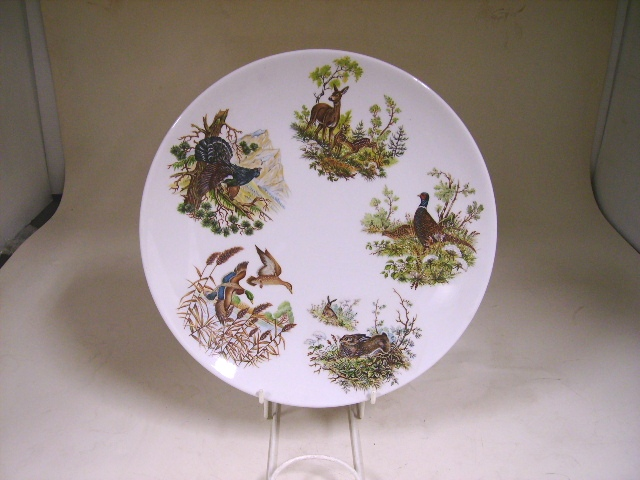 アンティーク 陶磁器 飾り用プレート アニマル プレート