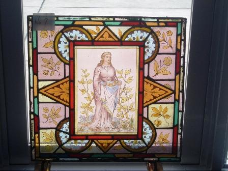 ステンドグラス (エナメル彩色の女性画付き) 7 アンティーク 建材 ステンドグラス