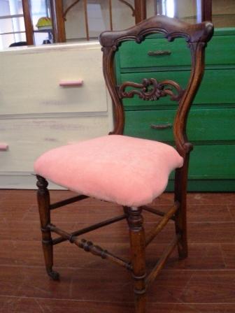 バルーンバック チェア  ピンク (キャスター付) 張替え済み,アンティーク 家具,チェア・ソファー
