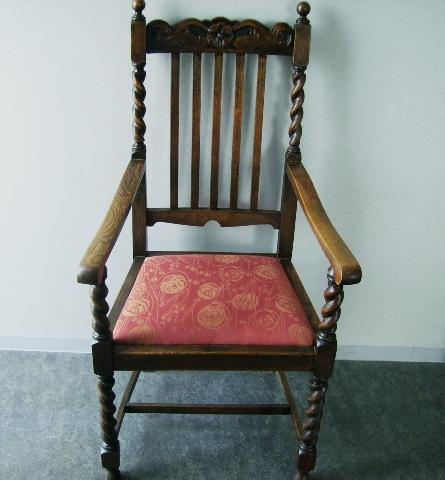 ツイストチェアー アーム付き 2脚 張替え済み,アンティーク 家具,チェア・ソファー