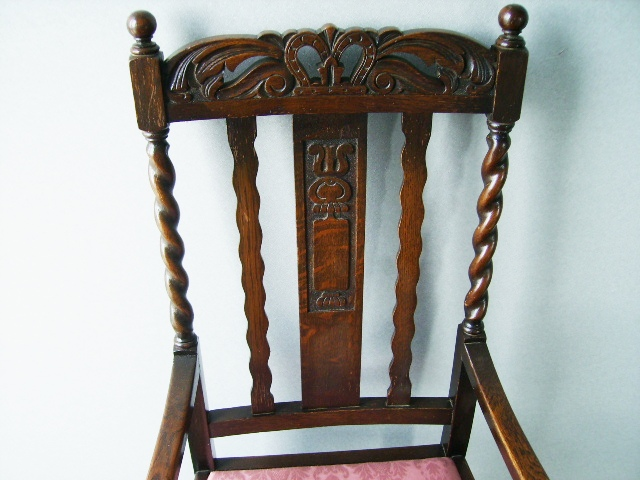 ツイストチェアー アーム付き 1脚 張替え済み,アンティーク 家具,チェア・ソファー