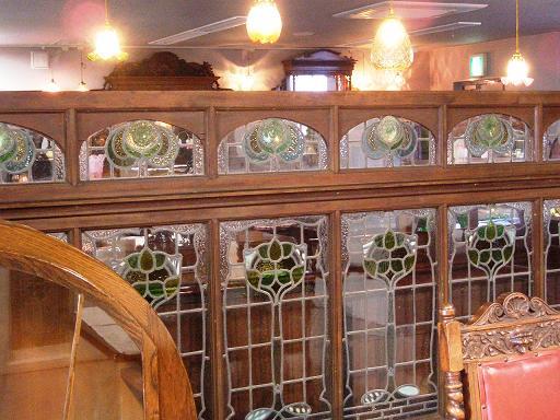 アンティーク 建材 ドア 非売品 アール・ヌーボー ドア(2枚)+ステンド・ウィンドウ セット