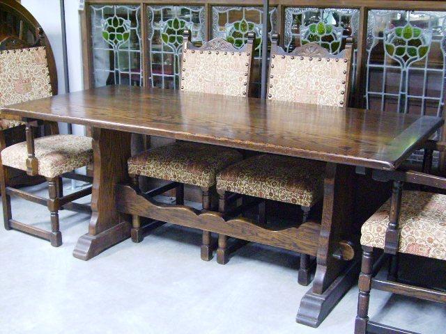 アンティーク 家具 テーブル・ダイニングセット オーク ダイニング・テーブル&チェアー6脚セット
