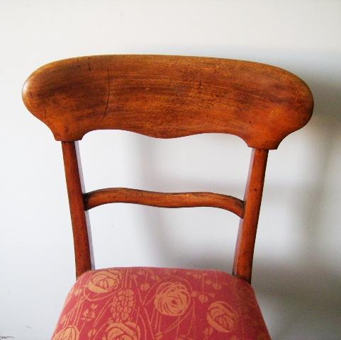 アンティーク 家具 チェア・ソファー チェアー 1脚 英国製生地 張替え済み