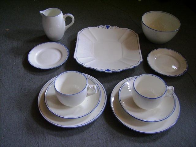 アンティーク 陶磁器 食器 カップ&ソーサー他 シェリー トリオ2客+シュガーボール+ミルクジャー+ケーキ皿+ソーサー(小)2枚