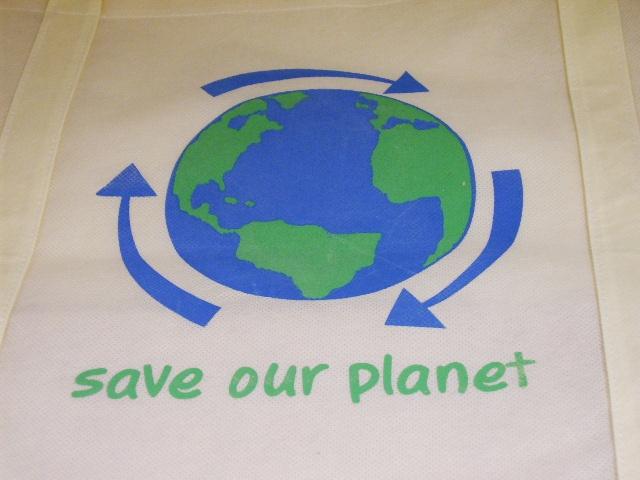 雑貨(キッチン) エコバッグ エコバッグ SAVE OUR PLANET ホワイト小
