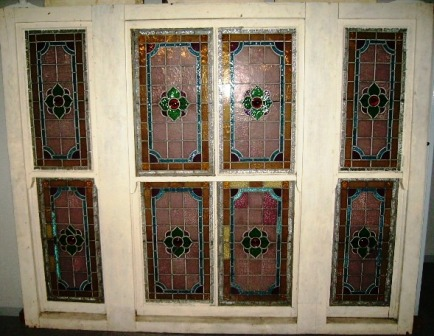 ステンドグラス 大 アンティーク 建材 ステンドグラス