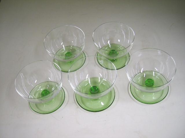 アンティーク ガラス グリーン・ブルー系 アイスクリーム グラス 5脚セット クリア&グリーン