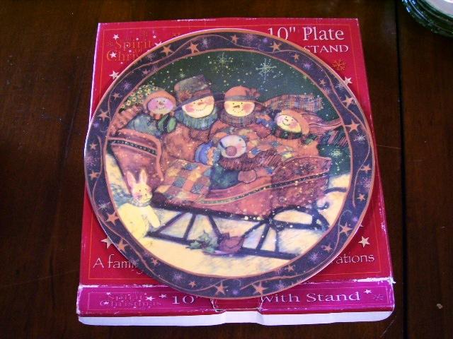 アンティーク 陶磁器 飾り用プレート クリスマスプレート スノーマン