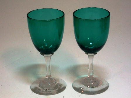 グラス シェリーグラス グリーン 1個,アンティーク ガラス,グリーン・ブルー系