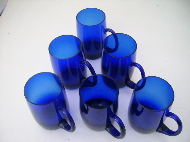 アンティーク ガラス グリーン・ブルー系 ビアジョッキ グラス 6客セット