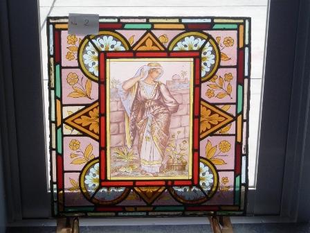 ステンドグラス (エナメル彩色の女性画付き) 2 アンティーク 建材 ステンドグラス