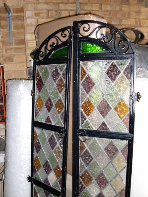 アンティーク 建材 ドア ステンド入り アイアン ドア