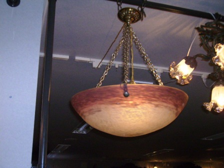 アールヌーボー ハンギング 大1灯 ミューラー兄弟,アンティーク 照明,シャンデリア・ハンギングランプ