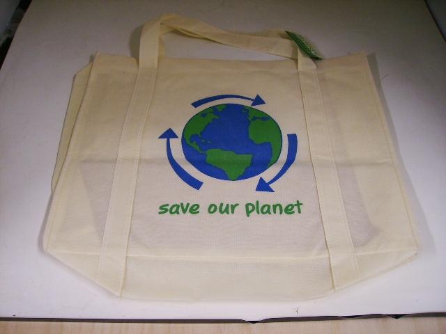 雑貨(キッチン) エコバッグ エコバッグ SAVE OUR PLANET ホワイト大 (1)(2)