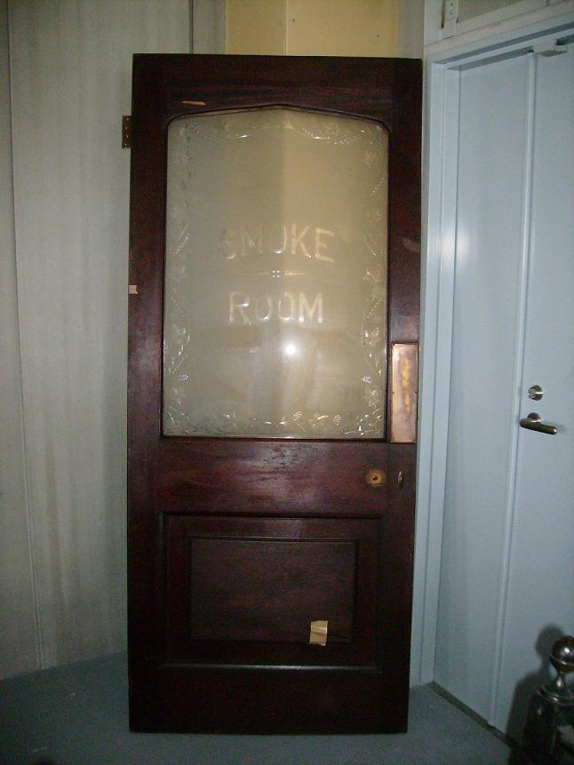 アンティーク 建材 ドア ステンド ドア マホガニー カット・エッチド SMOKE ROOM