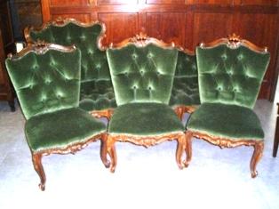 ラウンジ カウチ&チェア3脚セット グリーン,アンティーク 家具,チェア・ソファー