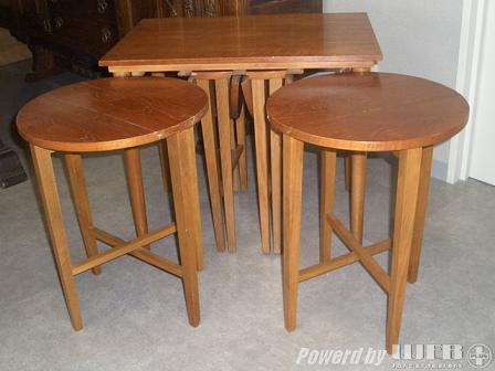 ネストテーブル(収納丸テーブルx4) アンティーク 家具 テーブル・ダイニングセット